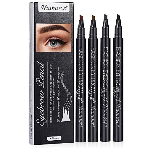 Augenbrauenstift, Augenbrauenfarbe, Eyebrow Pencil, Eyebrow Tattoo, Eyebrow Tattoo Pen, 4 Farben Augenbrauen Färben mit Tips Wasserfester Langenhaltend für Natürlich Augenbrauen Schminke, 4 Farben