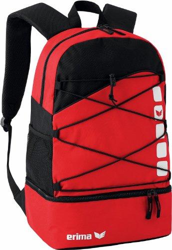 Erima CLUB 5 Multifunktionsrucksack mit Bodenfach, Rot/schwarz, Einheitsgröße