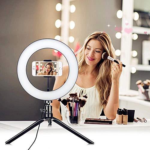 Anillo de luz LED con trípode y soporte para teléfono, 3 modos de luz y 10 niveles de brillo LED para selfie, móvil, transmisión en vivo y maquillaje.