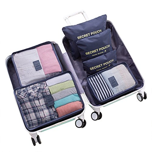 WOWTOY 6PCS Packing Cubes for Travel Luggage Organiser Bag Compression Pouches Clothes Suitcase, Packing Organizers Storage Bags for Travel Accessories, Dark Blue