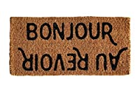 "Creative Co-op""""Bonjour/Au Revoir Natural Coir Doormat, 32"" x 16"", [並行輸入品]"