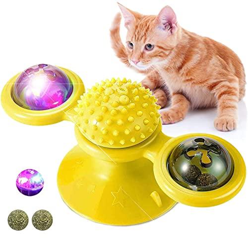 Giocattoli per gatti, Giradischi per mulino a vento Giocattoli per gatti in giro Graffiare solletico Spazzola per capelli Accessori per animali Gioco pazzo