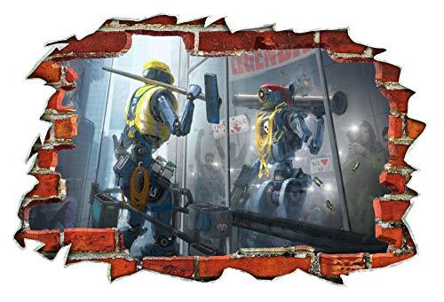 Pegatinas de pared Baby Groot Movie Bomb Cute 3D Wall Breakout Etiqueta de la pared Arte del dormitorio80*120CM