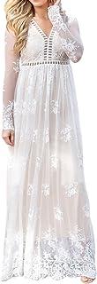 Imily Bela Women's Vintage Chiffon Long Sleeve Wedding Bridesmaid Summer Beach Maxi Long Dress