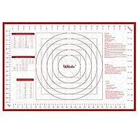Webake ベーキングマット シリコン ペストリーマット XL ノンスティック フォンダンマット マカロン、ローリング生地、パイクラスト、ピザ、クッキー用 お手入れ簡単 こねマット 寸法付き 24 x 16インチ