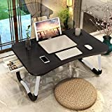 Laptop Desk Foldable Bed Table, Portable Lap Desk Laptop Bed Tray Table with Storage Drawer and Cup Holder, Lap Tray Table Notebook Stand Reading Desk Breakfast Tray for Bed Couch Sofa Floor – Black