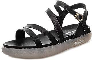 VOWAN Women's Roman Soft Soles Flats Platform Sandals Open Toe Ankle Strap Leather Maternity Casual Shoes