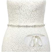 SWEETV Rhinestone Wedding Belt Crystal Bridal Belt Bridesmaid Sash Belt for Women Dress & Gown, Silver