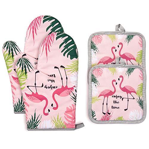 Czemo Ofenhandschuh und Topflappen Set Hitzebeständige Topfhandschuhe Baumwolle Kochhandschuhe für Kochen, Backen, Grillen (Flamingo)