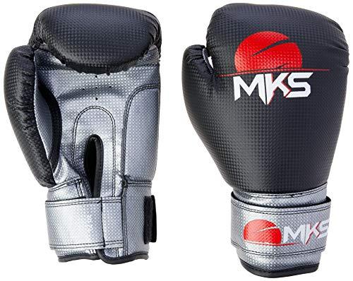Luva de Boxe Black & Silver para Muay Thai, Tamanho 10Oz, MKS, Preta e Prata