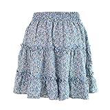 aihihe Women Teen Girl Boho Floral Print Flared Short Skirt Polka Dot Pleated Mini Skater Skirts Light Blue
