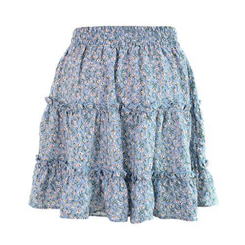 Writtian Damenrock Swing Boho Minirock Sommerkleid HoheTaillen Rüsche Sommerrock Kurzer Asymmetrisch Skater Röcke