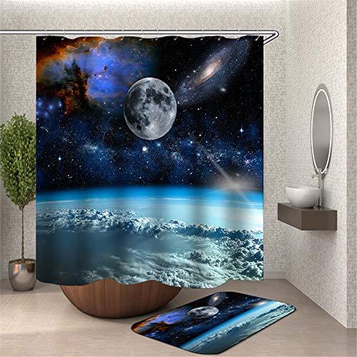 ChickwinDuschvorhangWasserdichtAnti-SchimmelShower Curtain Waschbar PolyesterBadezimmer Gardinenmit12DuschvorhangringefürBadezimmerDecor- 3DUniversum (Planet,180x200cm)