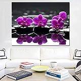 yaoxingfu Pas de Cadre Peinture à l'huile Violet Papillon Fleur d'orchidée Pierre Maison Moderne decoration30x45cm