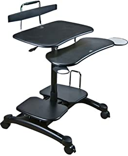 Aidata PCC004P PopDesk PC Cart Sitting/Standing Mobile Computer Desk (ABS Plastic), Black, Compact Units Store Your Entire...