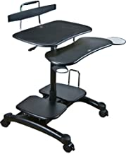 Aidata PCC004P PopDesk PC Cart Sitting/Standing Mobile Computer Desk (ABS Plastic), Black, Compact Units Store Your Entire Computer in Minimal Space, Easy Height Adjustments for Sitting or Standing