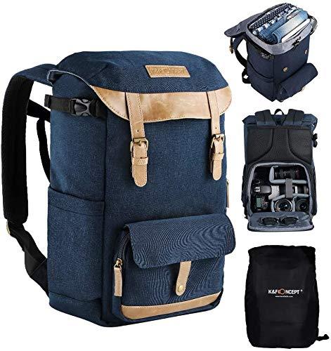 K&F Concept Zaino Fotografico Reflx Zaino per Fotocamera Professionale Zaino Fotografica Borsa Antifurto Multifunzionale per 15,6 '' Laptop DSLR Canon Nikon Treppiede Accessori Blu, Taglia XL