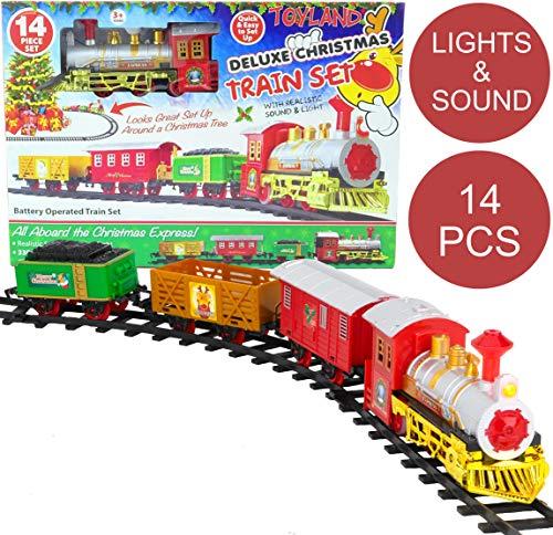 Toyland® Juego de Tren de Navidad DE 14 Piezas con Sonido y luz realistas - con Pilas - Carril de 330 cm - Juguetes Navideños