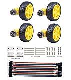 DC Motor Wheel Kit, 4PCS TT motor 3-6V Dual Shaft Gear Motor,Motor Support/Bracket,Electric motor Tyre Parts for Arduino Robot Smart Car,Model or Electronic Product DIY (4pcs Dual shaft/Biaxial)