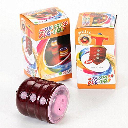 ACHICOO Kinder LED Light-up Musik Holz-wie Peg-Top Hand Spinner Kunststoff Flash Gyro Spielzeug Geschenk für Kinder Kind Geschenk
