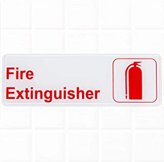 Fire Extinguisher Sign - White and Red, 9 x 3-inches Fire Exit/Fire Safety Signs by Tezzorio