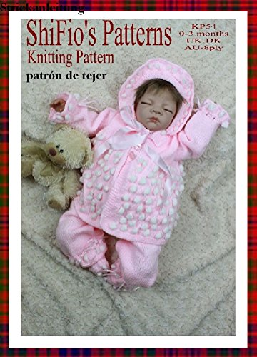 patrón para dos agujas – KP54 - chaqueta matinée, pantalones, sombrero y botitas/patucos para bebé