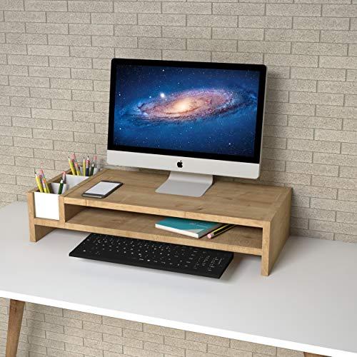 P&W Soporte para monitor de madera con 2 niveles, ergonómicos, elevadores para ordenador portátil, de madera, organizador de escritorio de madera, organizador de escritorio con almacenamiento, soporte