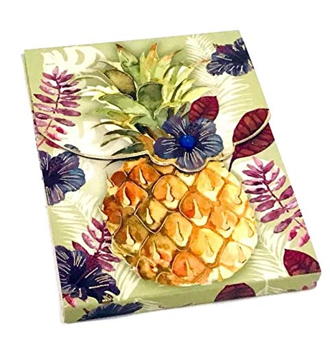 Punch Studio Gem Gold Foil Mini Pocket Notepad, Light Tropic Pineapple 62208