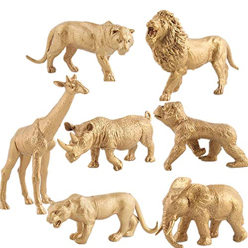 Safari Animals Figures, Gold Wild Animals Figures Animals Toy for Kids, Toddlers