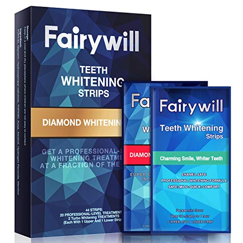 Fairywill Teeth Whitening Strips Sensitive Teeth, Professional Effect Whitening Strips Kits Whitestrips Remove Coffee Tea and Tobacco Stains in 30Mins, Pack of 44 Pcs Teeth Strips