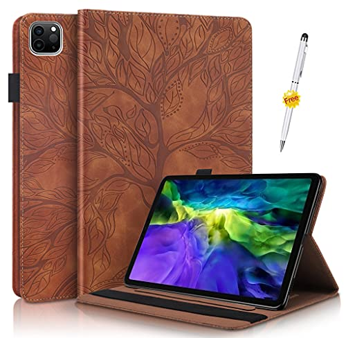KSHOP Kompatibel mitP Hülle für Tablet Amazon Fire HD 10 Tablet (9. & 7. Generation - 2019 & 2017) Schutzhülle Handyhülle Tasche Super dünner Leichter Magnetständer Braun