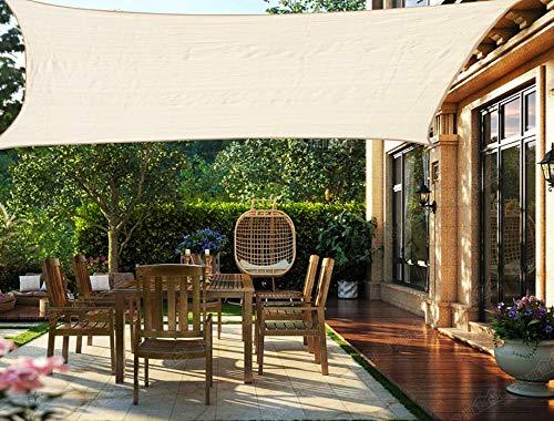 HENG FENG Toldo Vela de Sombra Rectangular 3.5 x 5 m Protección Rayos UV Solar Protección HDPE Transpirable Aislamiento de Calor para Dar Sombra a su Jardín Color Beige