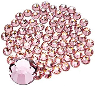Jollin Glue Fix Flatback Rhinestones Glass Diamantes Gems for Nail Art (ss20 576pcs, Pink)
