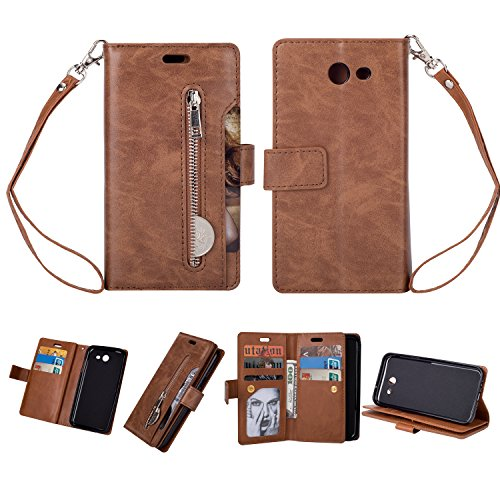 Galaxy J5 2017(US Version) Case,Folice Zipper Wallet Case [Magnetic Closure]& 9 Card Slots, PU Leather Kickstand Wallet Cover Durable Flip Case for Samsung Galaxy J5 2017(US Version) (Brown)
