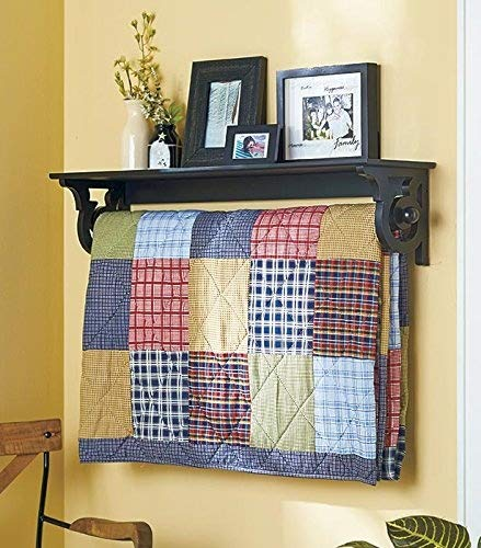 Deluxe Quilt Rack with Shelf - Black