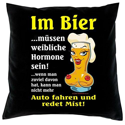Kissen komplett mit Füllung, Dekokissen, Couchkissen, Deko - Im Bier müssen weibliche Hormone sein...