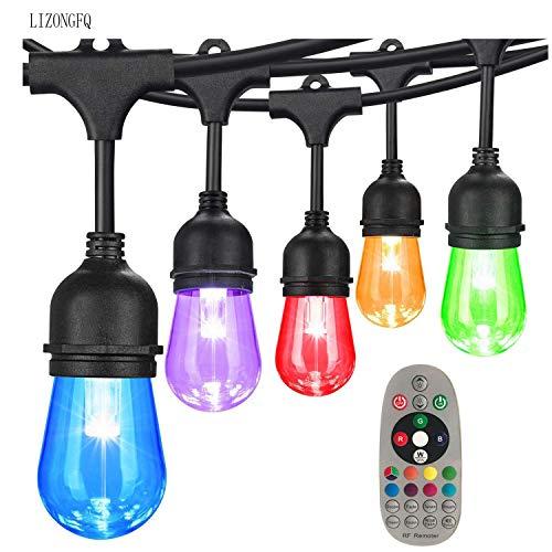 Dsqcai Farbwechselnde Lichterkette, LED-Gartenleuchte, 48 Außen- / Innenlichtschnur Mit 15 Steckdosen, Warmweißer Innenhof Hinterhof Cafe Garden Hotel Partydekoration
