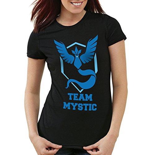 CottonCloud Team Mystic Damen T-Shirt Team Blau Blue Weisheit, Farbe:Schwarz, Größe:M