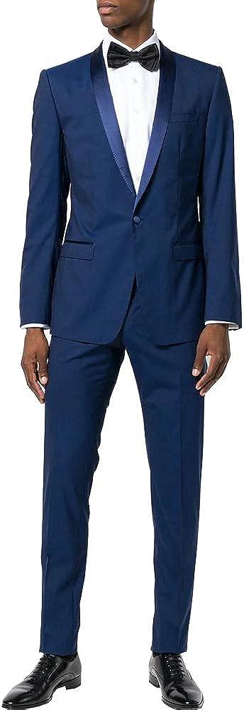 Men's Stretch Solid Performance Slim-Fit Suit Set Jacket Blazer Pants Business