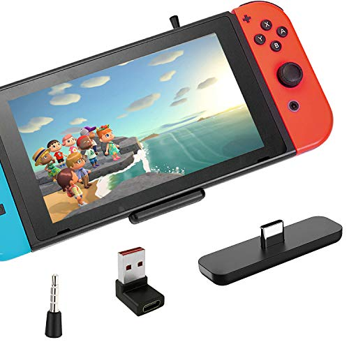 Gulikit Bluetooth Adapter for Nintendo Switch/Switch Lite/PS4/PS5/PC, Mic Supports in-Game Voice Chat, Wireless Audio Transmitter with aptX Low Latency to Bluetooth Speaker/Earbuds/Headphones (Black)