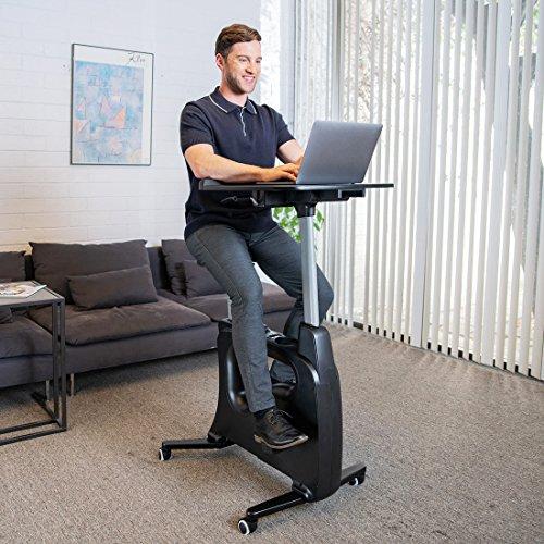 FLEXISPOT Home Office Upright Stationary Fitness Exercise Cycling Bike Height Adjustable Standing Desk - Deskcise Pro Black