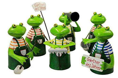 Zaunhocker Frosch - Gärtner des Jahres - 6 Stück - Metall - Höhe 21cm - Gartentiere
