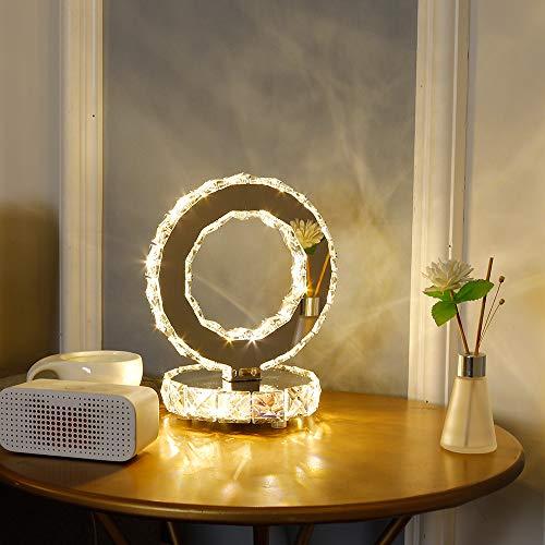 DAXGD Lampade da tavolo in cristallo, moderne lampade a LED in acciaio inossidabile, luce da scrivania rotonda 18W, Luce bianca calda