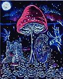 FGHYTR Pintar por Numeros Adultos Niños para DIY Pintura por Números con Pinceles Y Pinturas Decoración del Hogar Seta 16X20 Pulgadas Sin Marco