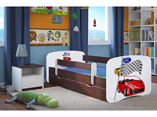 CARELLIA 'Kinderbett Ferrari 80x 180cm mit Barriere Sicherheitsschuhe + Lattenrost + Schubladen + Matratze Offert.–Wenge