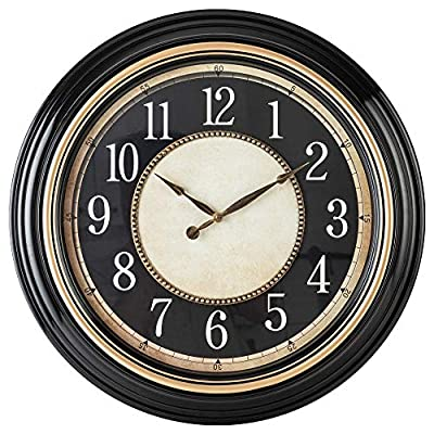 Pacific Bay Norden Huge Decorative Light-Weight 23-inch Wall Clock Silent, Non-Ticking, 3-D Dial, Easy-to-Read, Quartz Battery Operated, Glass Face Cover