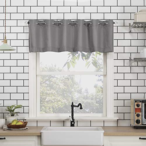 No. 918 Dylan Casual Textured Semi-Sheer Grommet Kitchen Curtain Valance and Tiers Set, 54' x 24' 3-Piece, Gray
