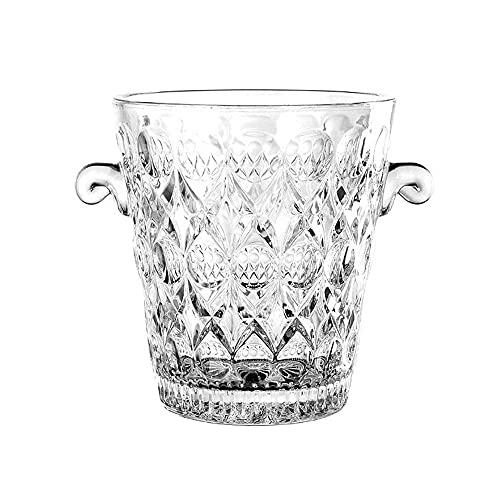 LIALIYA Vetro Portaghiaccio, Wine Cooler Cristallo di Ghiaccio Contenitore con 2 Maniglie, Cristallo Elegante Bevande idromassaggio per Le Parti Bar