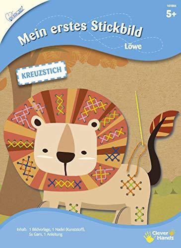 MAMMUT 161004 - Mein erstes Stickbild, Tiermotiv, Löwe, Komplettset mit Bildvorlagein Tierform, Nadel (Kunststoff), 5x Garn und Anleitung, Bastelset für Kinder ab 5 Jahre