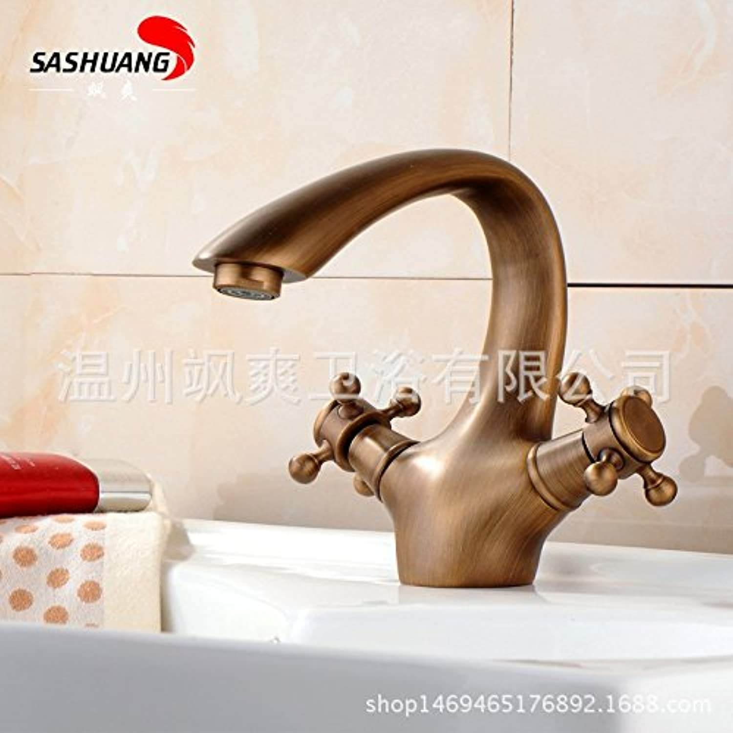 SADASD European Style Bathroom Basin Faucet Copper Antique Double Handle Flat Mouth Washbasin Sink Taps Ceramic Valve Hot and Cold Mixer Tap With G1 2 Hose